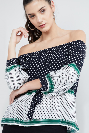 MAX Printed Tie-Up Sleeves Bardot Top