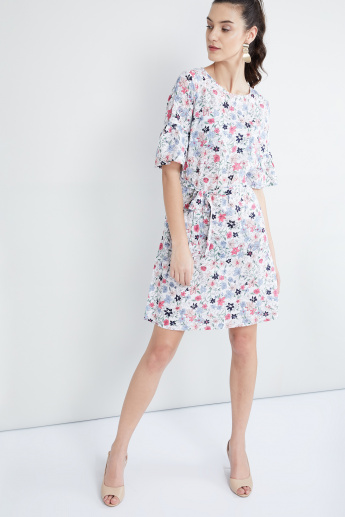 MAX Floral Printed Tie-Up Waist Dress
