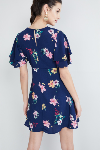 MAX Floral Printed Layered Sleeves Dress