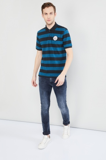 MAX Printed Batch Striped Polo T-shirt