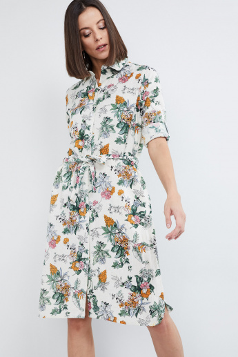 MAX Floral Print Shirt Dress with Tie-Up
