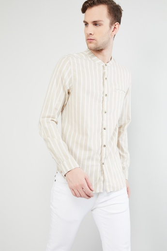 MAX Mandarin Collar Striped Casual Shirt