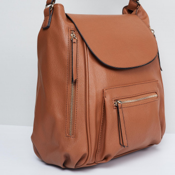 MAX Textured Flap Closure Backpack