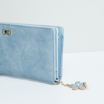 MAX Solid Wallet with Floral Embellishment
