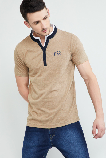 b53f918d MAX Heathered Slim Henley T-shirt with Contrast Taping | Beige | Solid