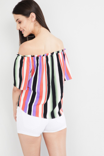 MAX Striped Off-Shoulder Top