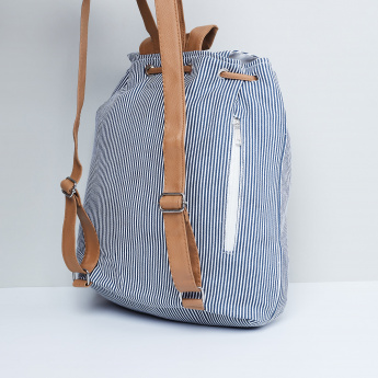 MAX Striped Backpack with Drawstring