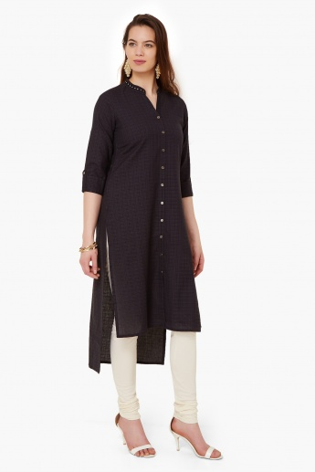 MAX Micro Checks High-Low Hem Kurta