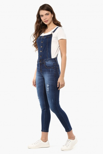 MAX Distressed Denim Dungarees