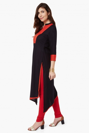 MAX Band Collar High-Low Hem Kurta