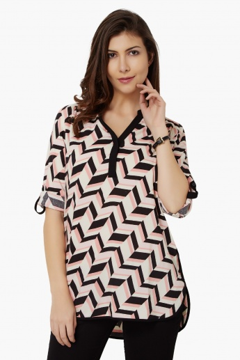 MAX Geometric Print Roll-Up Sleeves Tunic