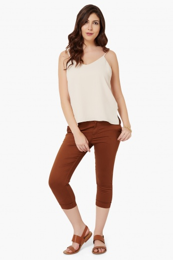 MAX Solid Slant Pocket Capris