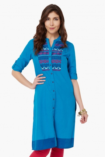 MAX Band Collar Button-Up Kurta