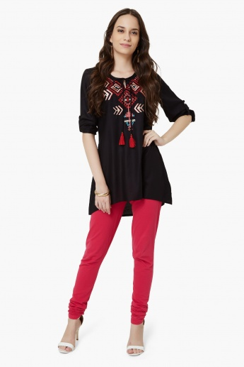 MAX Embroidered Roll-Up Sleeves Kurti