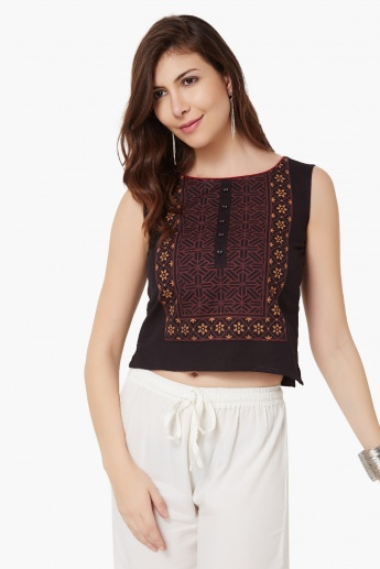 MAX Printed Sleeveless Cotton Top