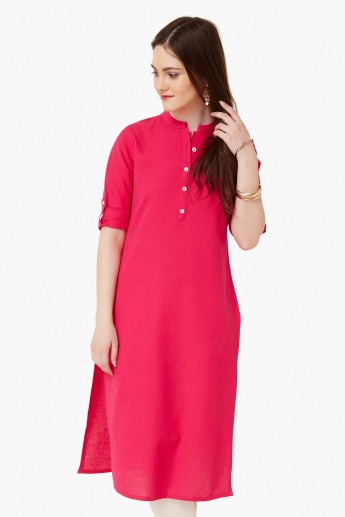 MAX Straight Solid Band Collar Kurta