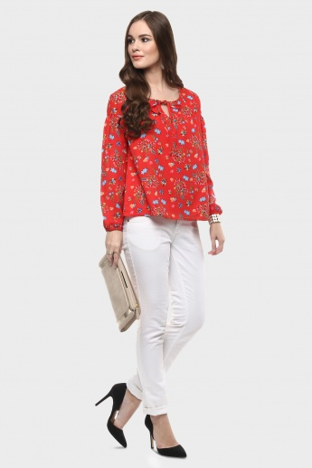 MAX Solid Tie-Up Neck Blouse