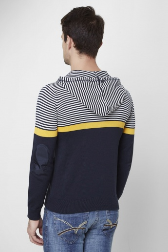 MAX Striped Front Zip Hooded Sweatshirt