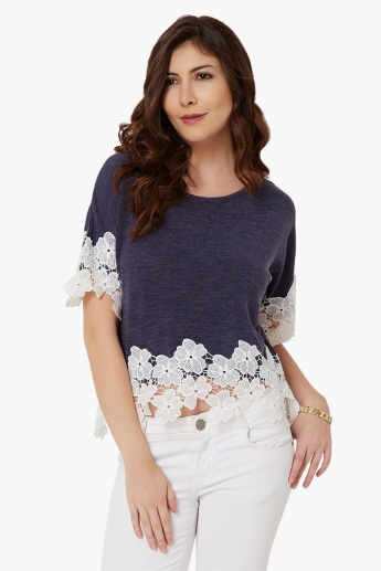 MAX Lacy Edges Round Neck Top