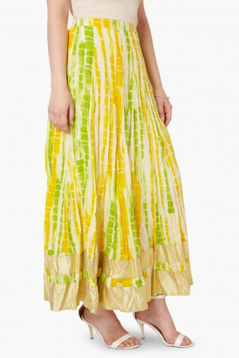 MAX Metallic Border Tie-Dye Maxi Skirt