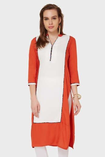 MAX 3/4th Sleeves Band Collar Kurta