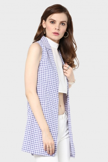 MAX Lapel Collar Sleeveless Long Jacket