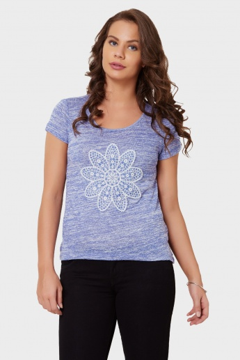 MAX Flower Applique Slub Finish Top
