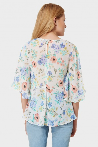 MAX Floral Print Flared Top