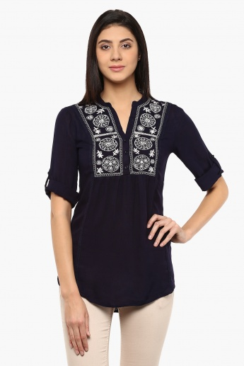 MAX Embroidered Roll-Up Sleeves Tunic
