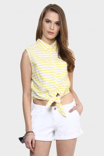 MAX Striped Waist Tie-Up Shirt