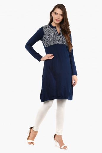 MAX Band Collar Flat Knit Kurta