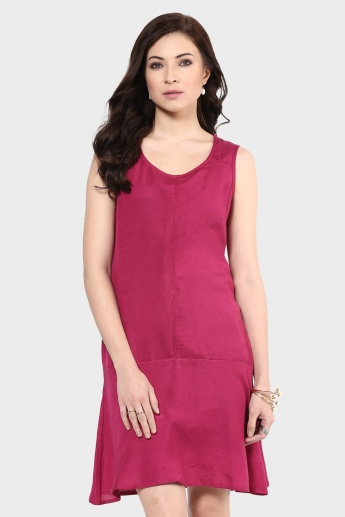 MAX Sleeveless Solid Drop Waist Dress