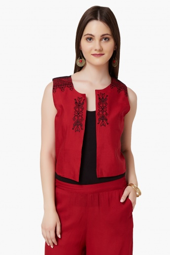 MAX Sleeveless Embroidered Ethnic Jacket