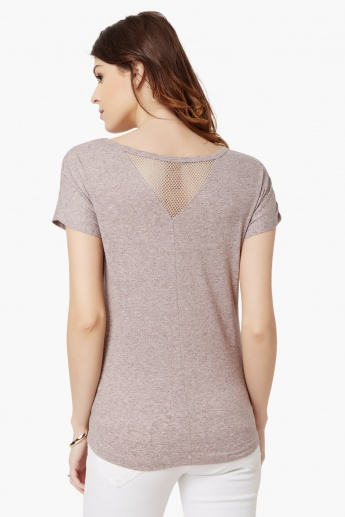 MAX Round Neck Mesh Insert Top