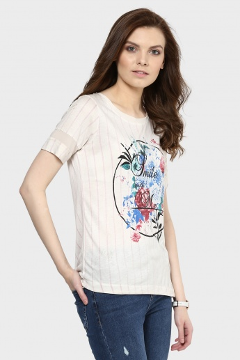 MAX Striper Top with Graphic Print