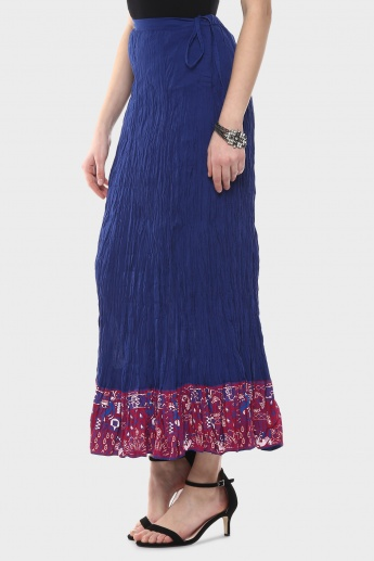 MAX Solid Panelled Maxi Crushed Skirt