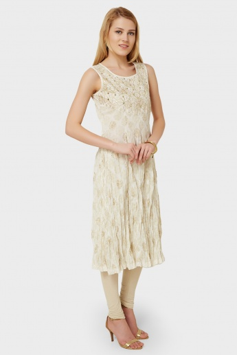 MAX Embroidered Mirror Work Crushed Kurta
