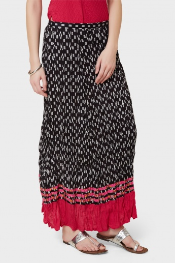 MAX Printed Scrunched Maxi Skirt
