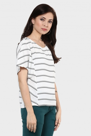 MAX Striped Round Neck Blouse
