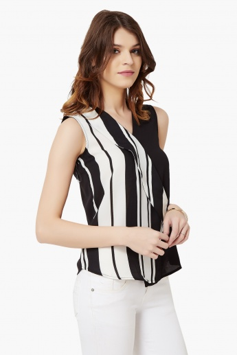 MAX Striped V-Neck Blouse