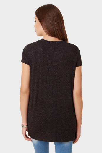 MAX V-Neck Side Slit T-Shirt