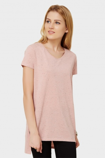 MAX V-Neck High Low Hem Top