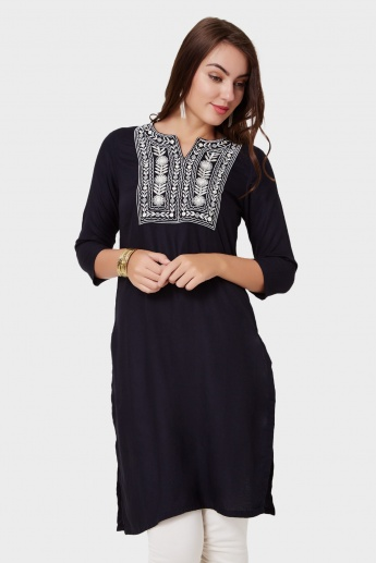 MAX Embroidered Neckline Straight Kurta
