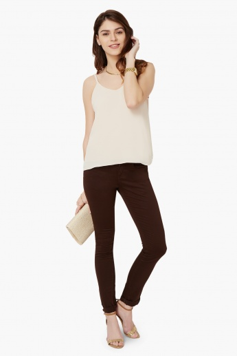 MAX Solid Fold-Over Hem Pants