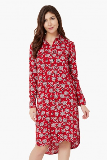 MAX Printed Hi-Low Shirt Dress