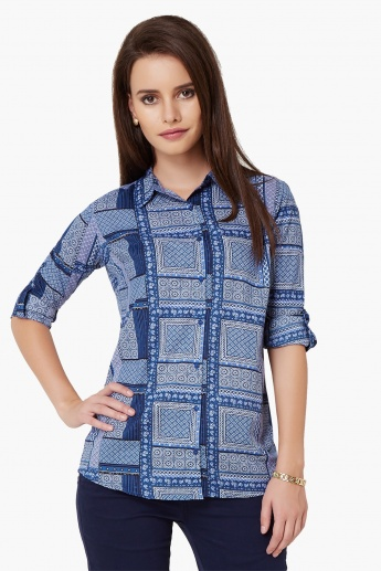MAX Printed Roll-Up Sleeves Shirt
