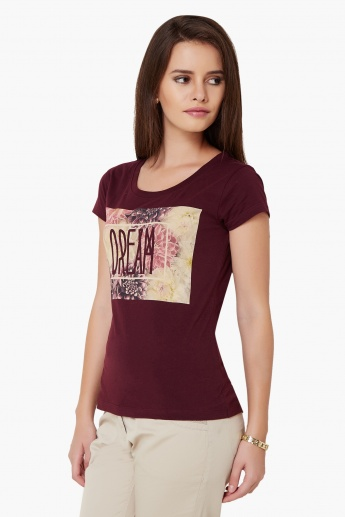 MAX Dream Imprint Round Neck T-Shirt