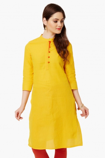 MAX Band Collar Textured Kurta