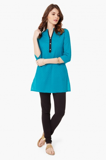 MAX Dobby Weave Band Collar Kurti