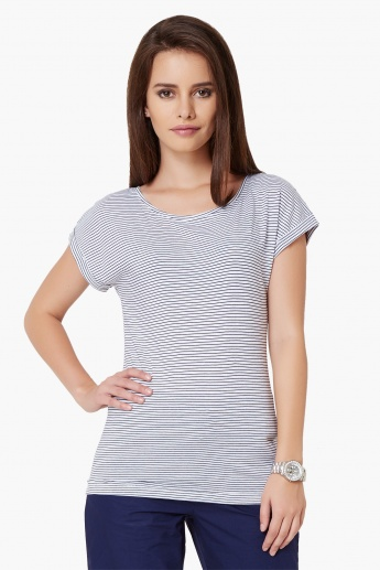 MAX Striped Round Neck Top